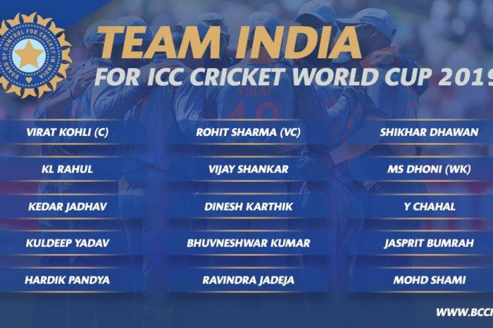 India World Cup Team 2019 Announced
