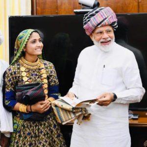 Geeta Rabari with Narendra Modi