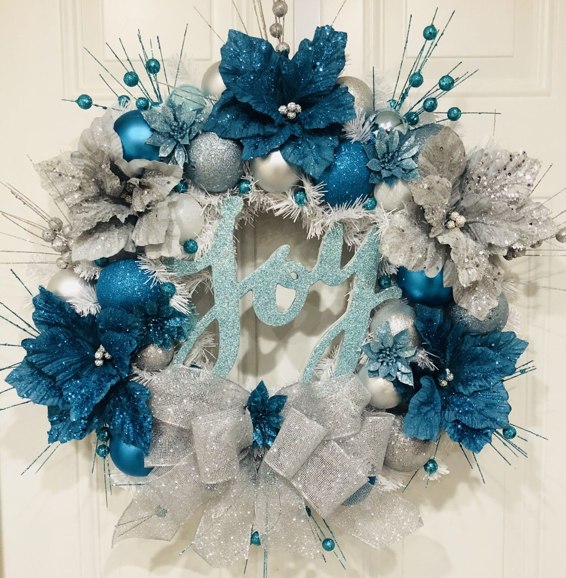 SILVER AND BLUE WINTER WREATH